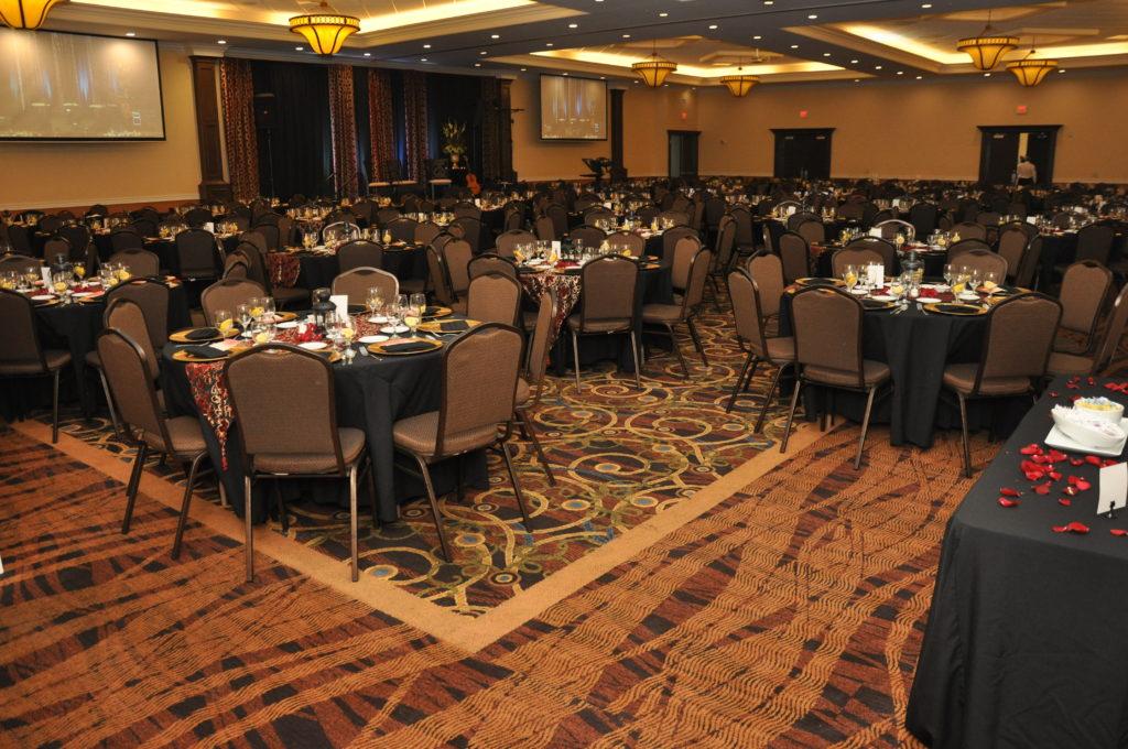 Fundraising Dinner Setup in Grand Hall